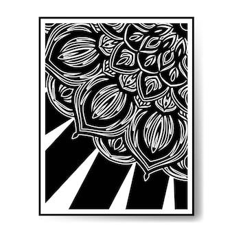 Luxury circular pattern mandala black and white decoration