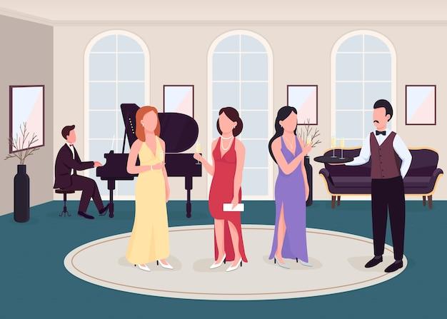 럭셔리 칵테일 파티 평면 색상. 공식 행사. 클래식 음악 공연이있는 이벤트. 피아노 음악가. 배경에 풍부한 집과 우아한 2d 만화 캐릭터