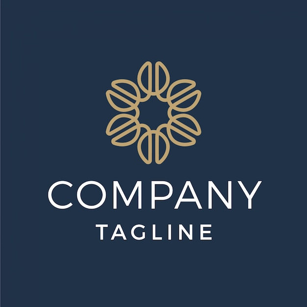 Luxury coffee bean flower monoline logo