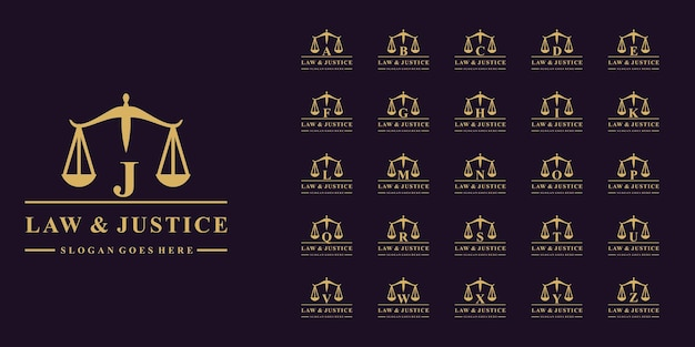 Luxury collection of law firm logos with initial letter a to z premium vector