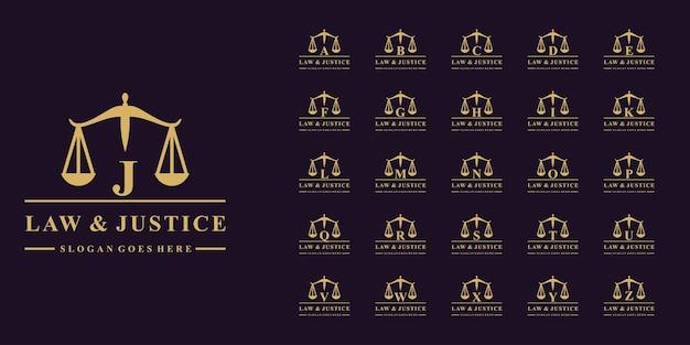초기 문자 a ~ z가 있는 법률 회사 로고의 고급 컬렉션 프리미엄 벡터