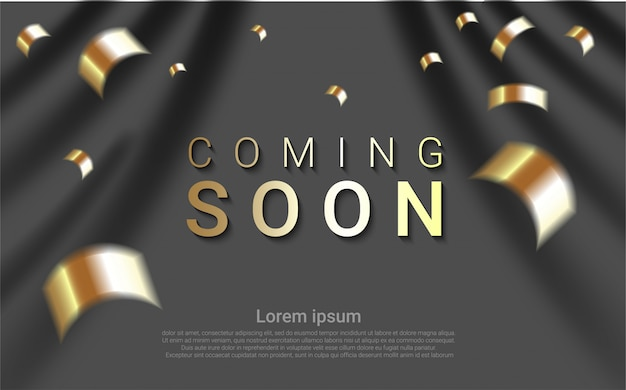 Luxury coming soon on curtain background.