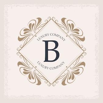 Luxury company b monogram swirl decoration heraldic emblem