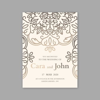 Luxury concept for wedding invitation template
