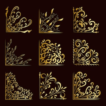 럭셔리 코너 황금 꽃 개념