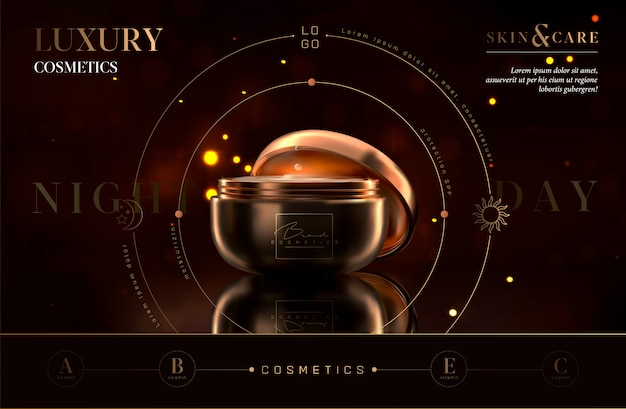 Luxury cosmetic black and gold night cream jar for skin care products. facial cream. beautiful flyer or banner design for cosmetic ads. elegant cosmetic premium cream template. makeup brand.