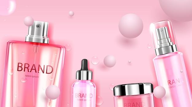 高級化粧品ボトルパッケージスキンケアクリームとボール