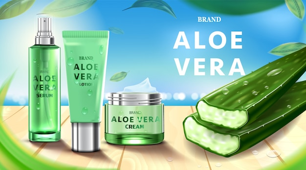 Luxury cosmetic bottle package skin care cream, beauty cosmetic product, with aloe vera