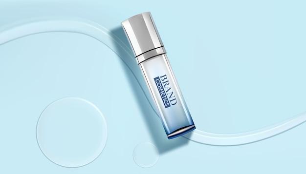 高級化粧品ボトルパッケージ、シアンの背景に水滴と白い化粧品