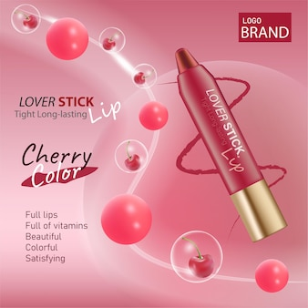 Luxury cosmetic cherry lipstick packaging and red color background for cosmetic branding