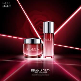 3d 그림에서 빨간 장미 배경에 빛나는 및 레이저 조명 효과와 고급 화장품 디자인.