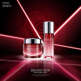Luxury cosmetic design with glowing and laser light effect on red rose background in 3d illustration.