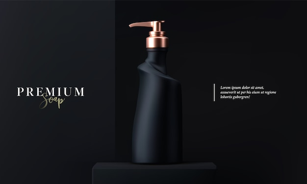 Luxury cosmetic liquid soap with dispenser for skin care on black background. black and gold matte cosmetic liquid soap  bottle. beautiful cosmetic template for ads. makeup products brand