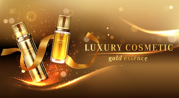 Luxury cosmetic products with golden glitter and ribbon