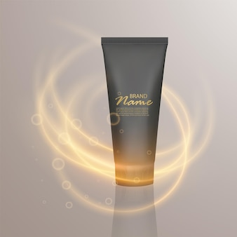 Luxury cosmetic template. 3d black matte cosmetic tube with lighting flare effect.