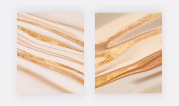 ゴールドのキラキラ液体大理石の質感を持つ豪華なカバーデザイン
