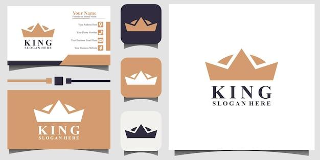 テンプレート名刺と豪華な王冠のロゴデザインベクトル