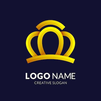 Luxury crown logo design with 3d gold style