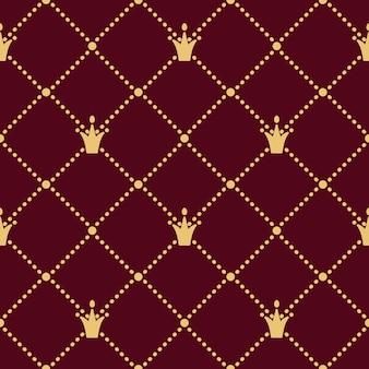 Роскошная корона бесшовные модели в золотом стиле