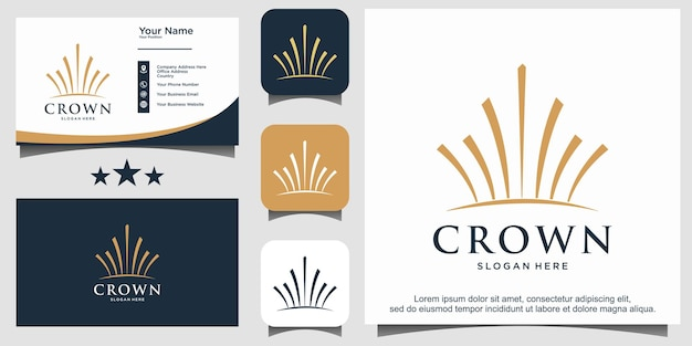 Luxury crown with line art logo design vector