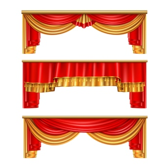 Роскошные шторы реалистичной композиции с красными и золотыми цветами для иллюстрации интерьера театра