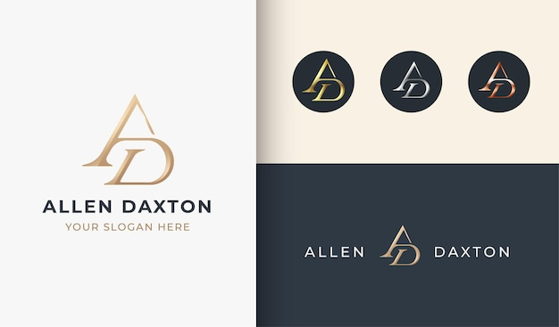 Luxury a d monogram serif letter logo design