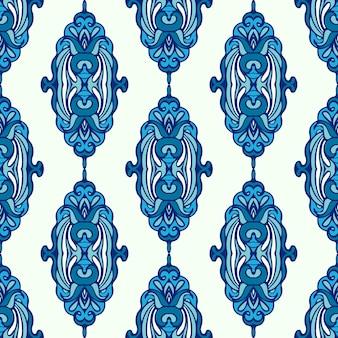 豪華なダマスク冬のシームレスなパターンの青い背景