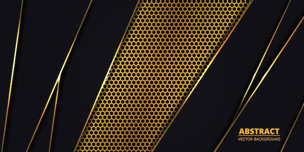 金色の六角形の炭素繊維を持つ豪華な暗い抽象的な背景
