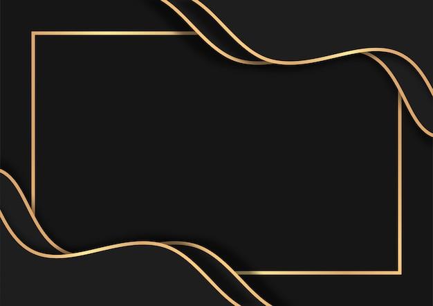 金色の線で豪華な暗い抽象的な背景、オーバーラップレイヤーと豪華な背景デザイン