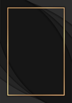 Luxury dark abstract background with overlap layers, luxury background with golden lines