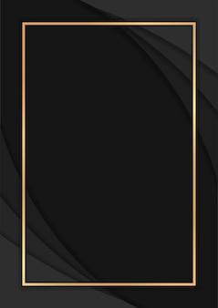 オーバーラップレイヤーと豪華な暗い抽象的な背景、金色の線と豪華な背景