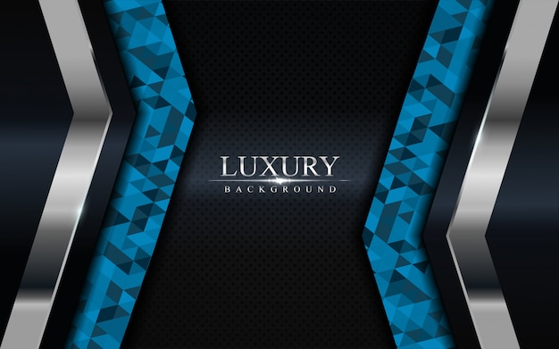 Luxury dark background with blue mosaic and silver lines