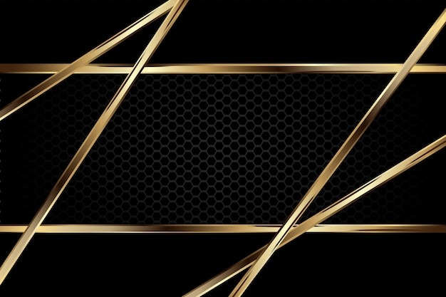 Luxury dark background with carbon texture and golden border line