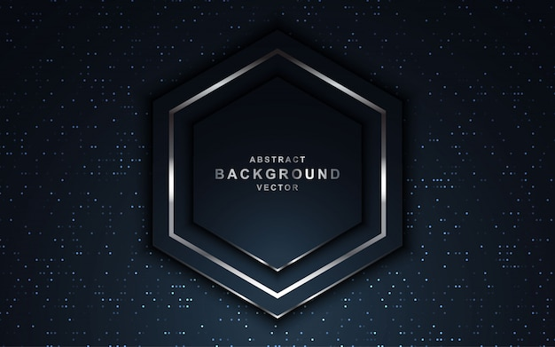 Luxury dark background with glitters and hexagon shape.