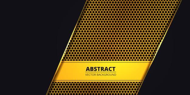 Luxury dark background with golden hexagon carbon fiber. abstract background with golden luminous lines. futuristic modern luxury backdrop. .