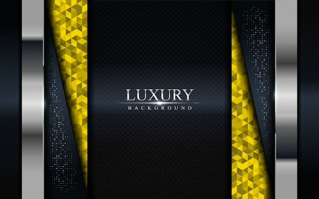 Luxury dark background with yellow mosaic and silver lines