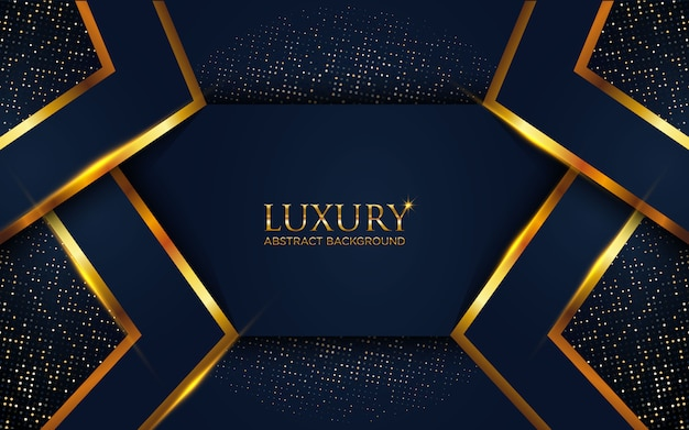 Luxury dark blue abstract background with geometric golden line