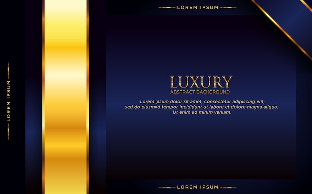 Luxury dark blue abstract background with golden shape