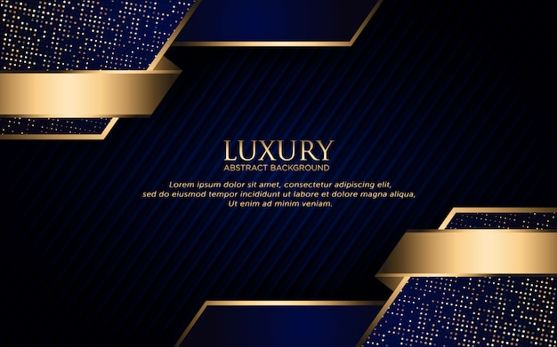 Luxury dark blue background with geometric shape and golden glitter