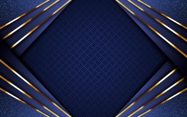 Luxury dark blue background with golden stripe and glitter