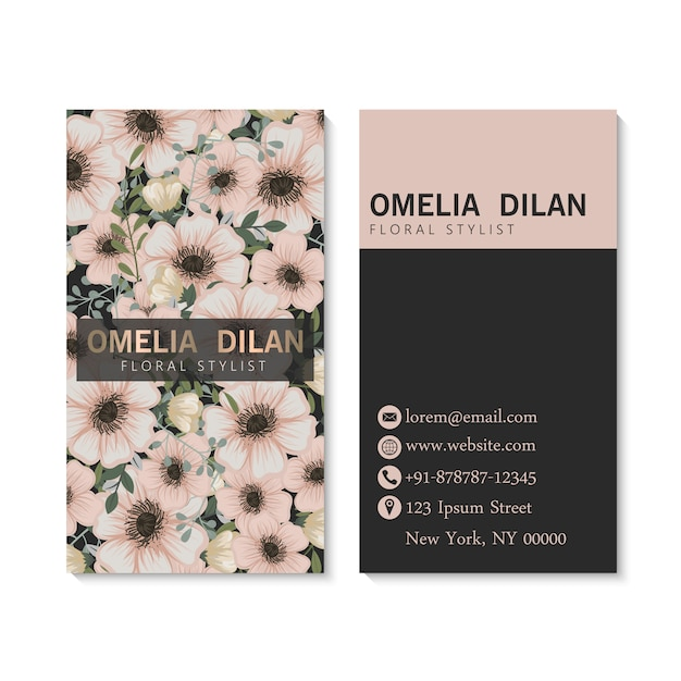 Luxury dark business card template with flowers.