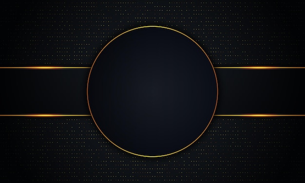 Luxury dark circle and stripes with golden lines and dot background. vector illustration.