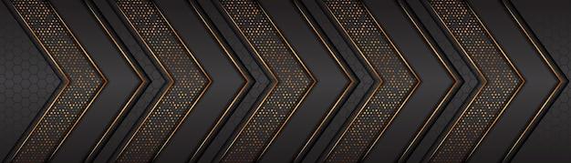 金色の線が重なるレイヤーのある豪華なダークグレーのバナー