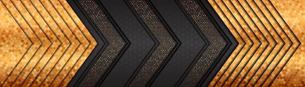 황금 라인 겹치는 레이어 럭셔리 어두운 회색 배너