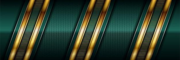 ラグジュアリーなダークグリーンと、リアルなゴールドのラインと光沢のあるゴールドの六角形が重なっています