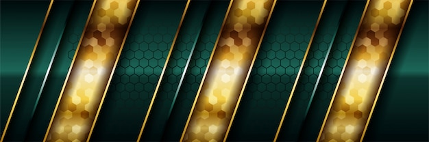 Luxury dark green overlap   with realistic gold line and hexagon on shiny golden