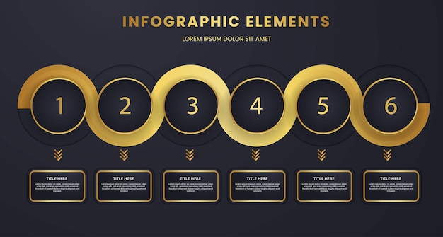 Luxury dark mode business data visualization timeline one to six infographic element template design