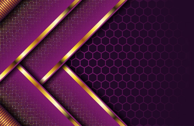 Luxury dark purple background with golden stripe and glitter