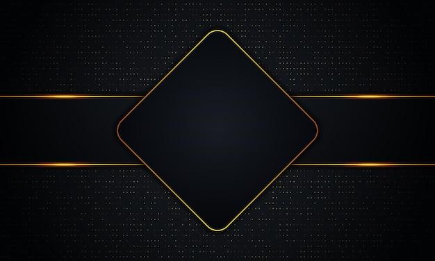 황금색 선과 점 배경이 있는 고급스러운 어두운 사각형 및 줄무늬. 벡터 일러스트 레이 션.