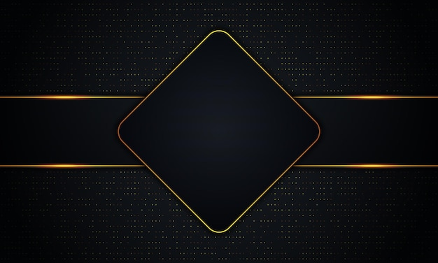Luxury dark rectangle and stripes with golden lines and dot background. vector illustration.